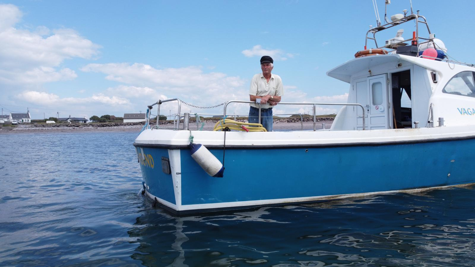 Pat Browne aboard boat